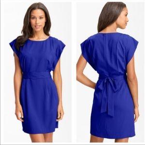 Eliza J Drape Sleeve Sash Belt Dress Blue Plus 14